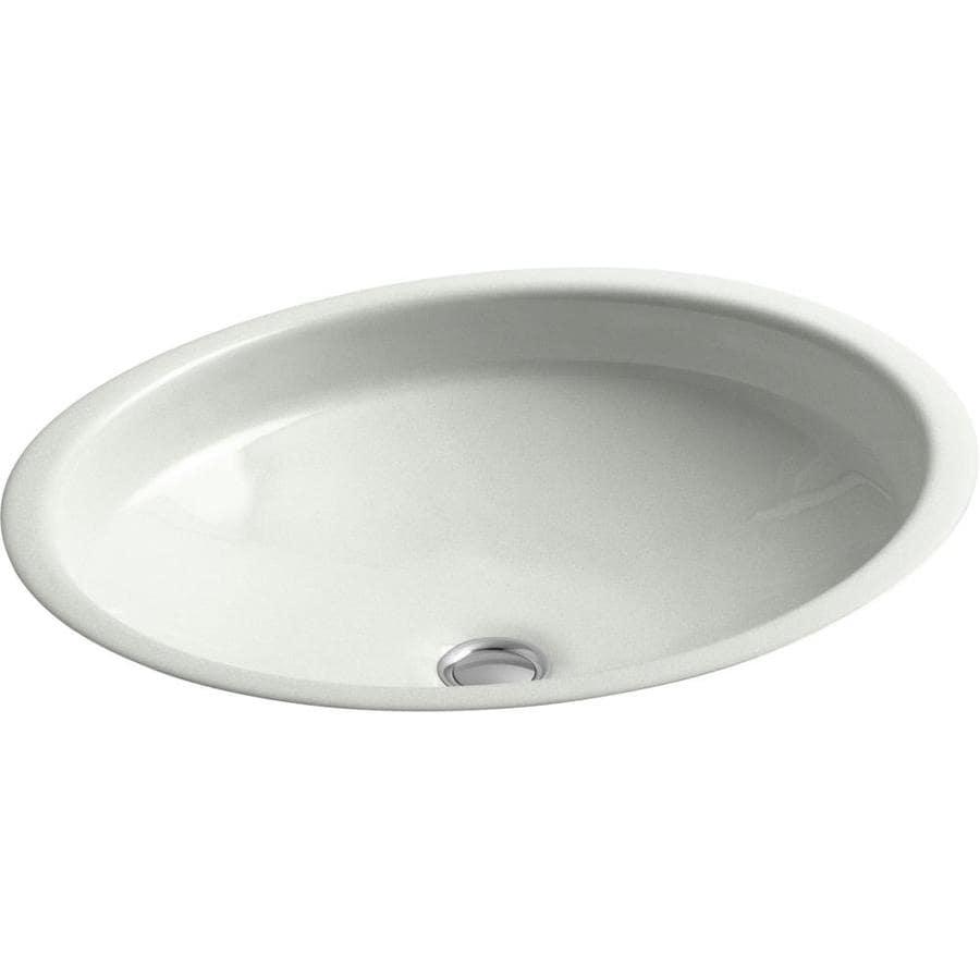 KOHLER Canvas Sea Salt Cast Iron Undermount Oval Bathroom Sink with Overflow