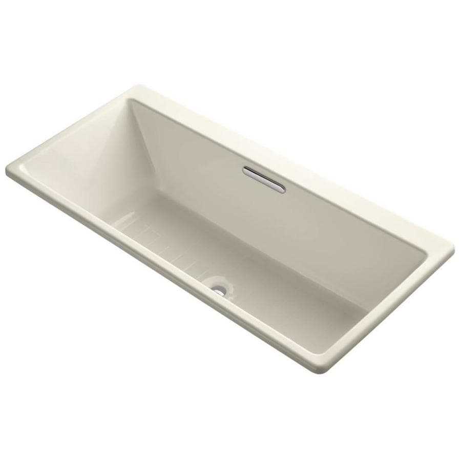 kohler rve almond cast iron rectangular drop in bathtub with center