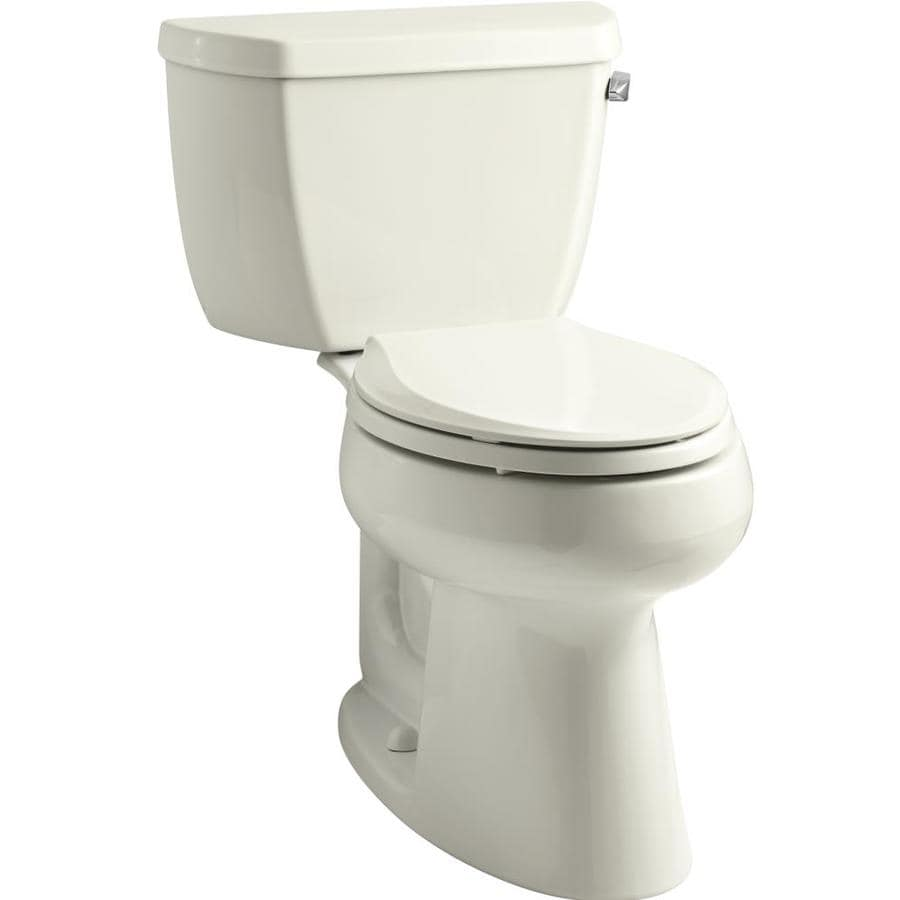 KOHLER Highline 1.28-GPF (4.85-LPF) Biscuit WaterSense Elongated Standard Height 2-Piece Toilet