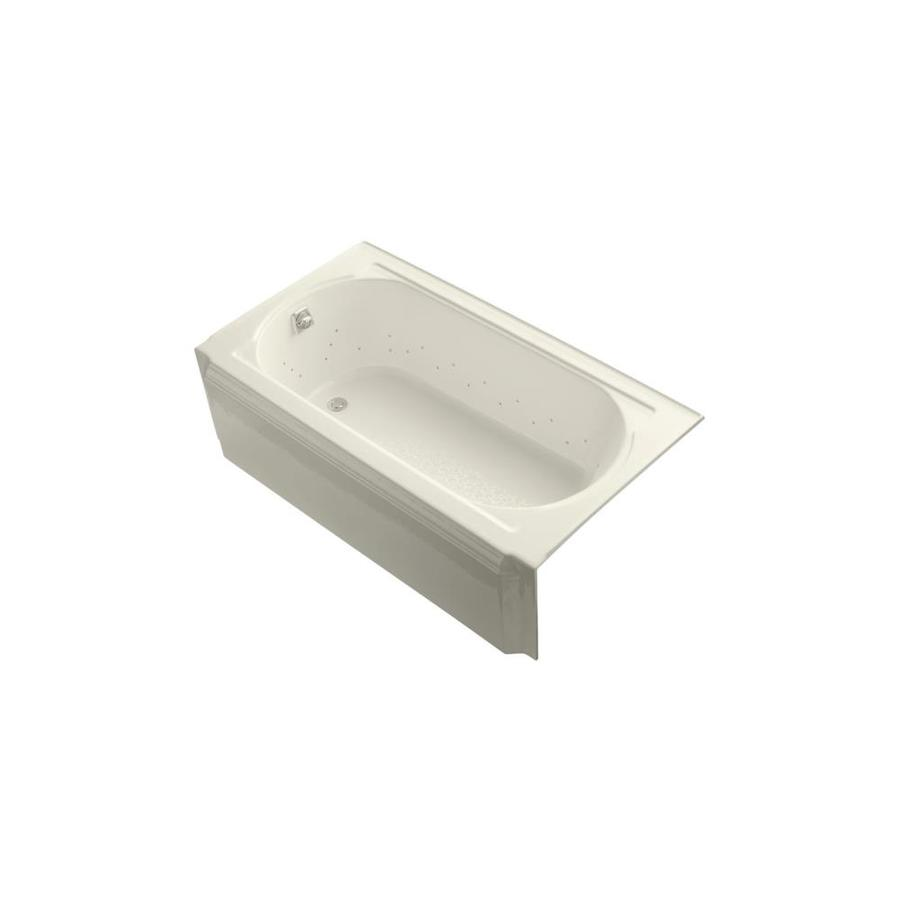 KOHLER Memoirs 60-in Biscuit Acrylic Alcove Air Bath with Left-Hand Drain