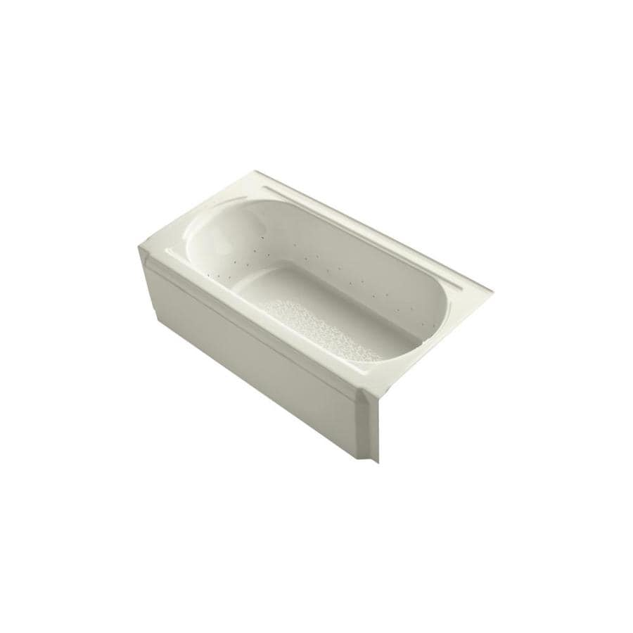KOHLER Memoirs 60-in Biscuit Acrylic Alcove Air Bath with Right-Hand Drain