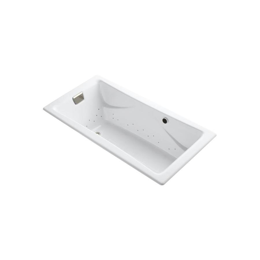 KOHLER Tea-For-Two 71.75-in L x 36.0-in W x 20.875-in H White Cast Iron 2-Person Rectangular Drop-in Air Bath