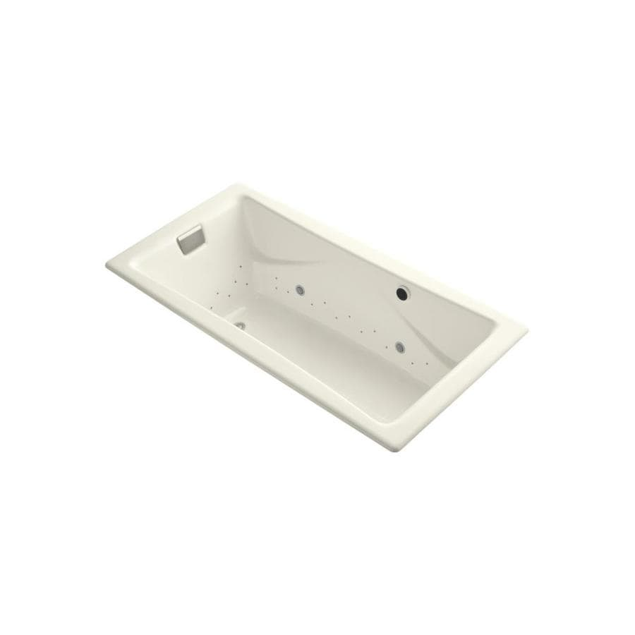 KOHLER Tea-for-Two 71.75-in Biscuit Cast Iron Drop-In Air Bath with Reversible Drain