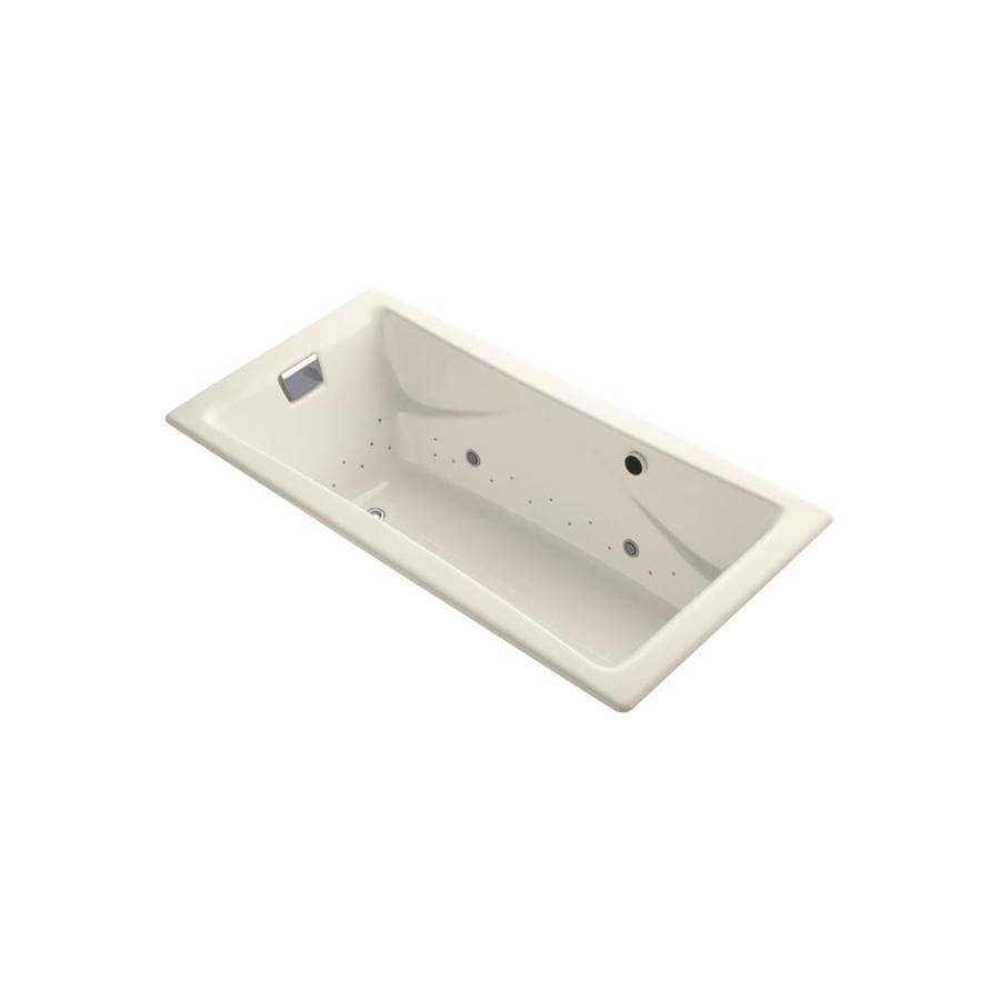 KOHLER Tea-For-Two 71.75-in L x 36-in W x 20.875-in H Almond Cast Iron 2-Person Rectangular Drop-in Air Bath