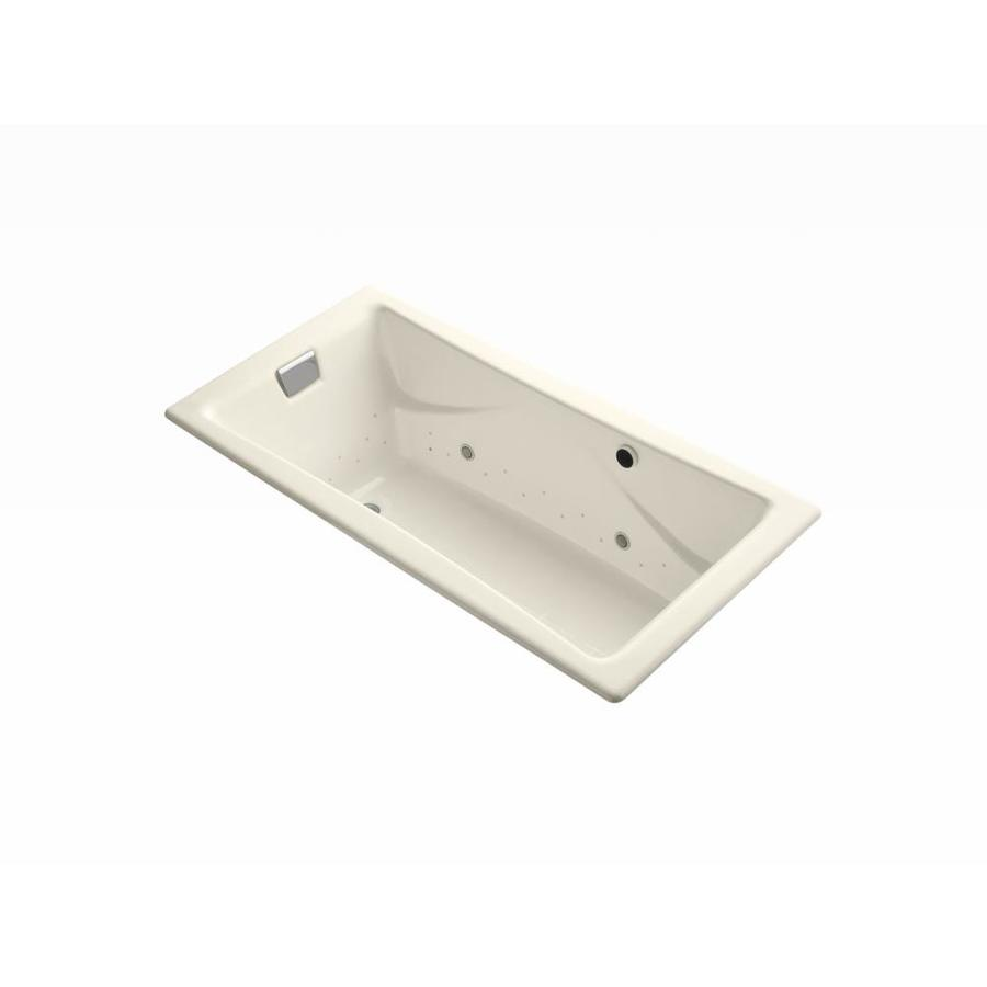 KOHLER Tea-for-Two 71.75-in L x 36-in W x 20.875-in H Almond Cast Iron 2-Person Rectangular Drop-In Air Bath