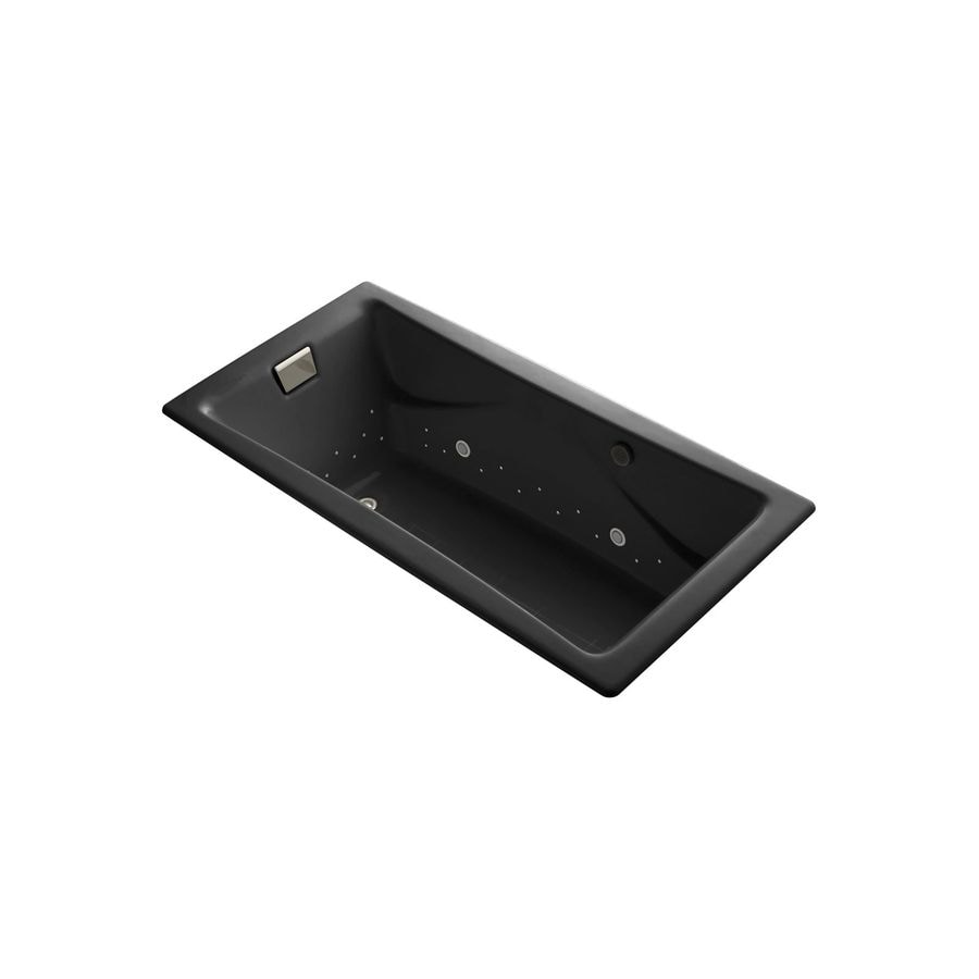 KOHLER Tea-for-Two 71.75-in Black Cast Iron Drop-In Air Bath with Reversible Drain