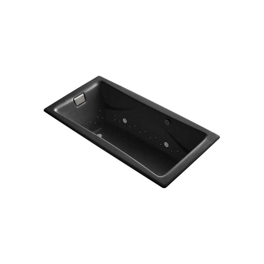 KOHLER Tea-for-Two 71.75-in Black Black Cast Iron Drop-In Air Bath with Reversible Drain