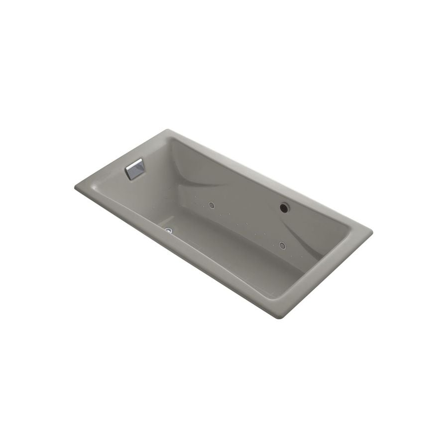 KOHLER Tea-for-Two 71.75-in Cashmere Cast Iron Drop-In Air Bath with Reversible Drain
