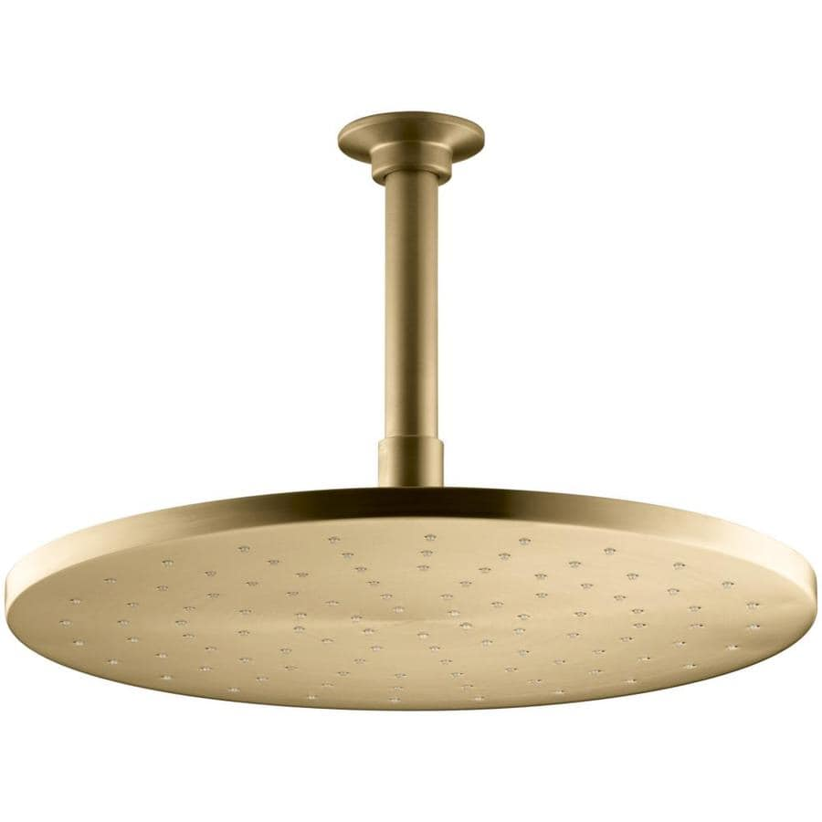 KOHLER Traditional 12-in 2.5-GPM (9.5-LPM) Vibrant Moderne Brushed Gold 1-Spray Rain Showerhead