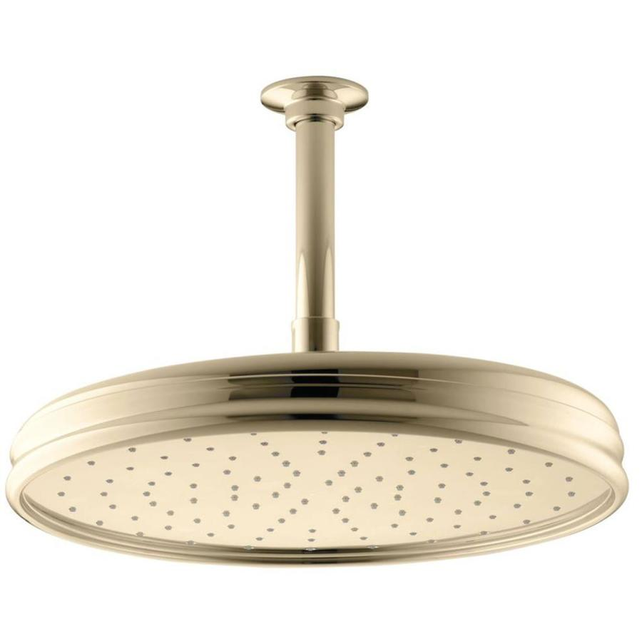 KOHLER Traditional 12.4375-in 2.5-GPM (9.5-LPM) Vibrant French Gold 1-Spray Rain Showerhead