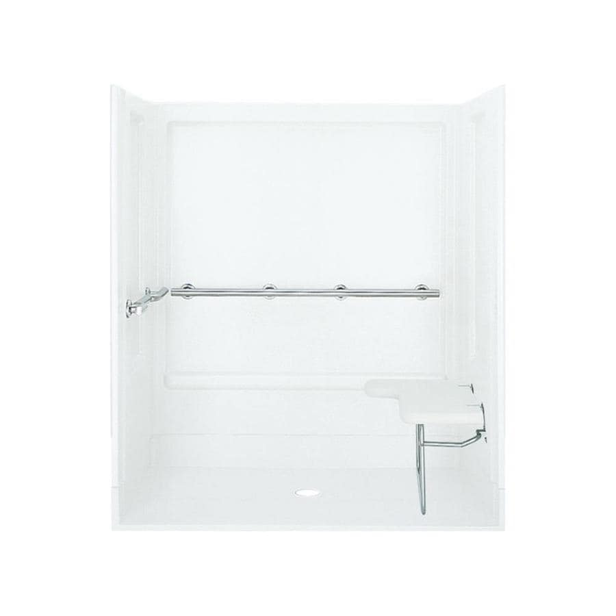 Sterling White Vikrell Wall and Floor 4-Piece Alcove Shower Kit (Common: 63-in x 40-in; Actual: 73.25-in x 63.25-in x 39.375-in)