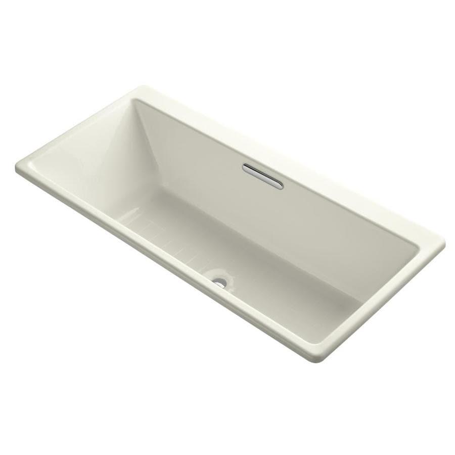 KOHLER Rve 66.9375-in Biscuit Cast Iron Drop-In Bathtub with Center Drain
