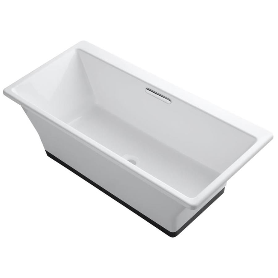 KOHLER Rve 66.9375-in White Cast Iron Freestanding Bathtub with Center Drain
