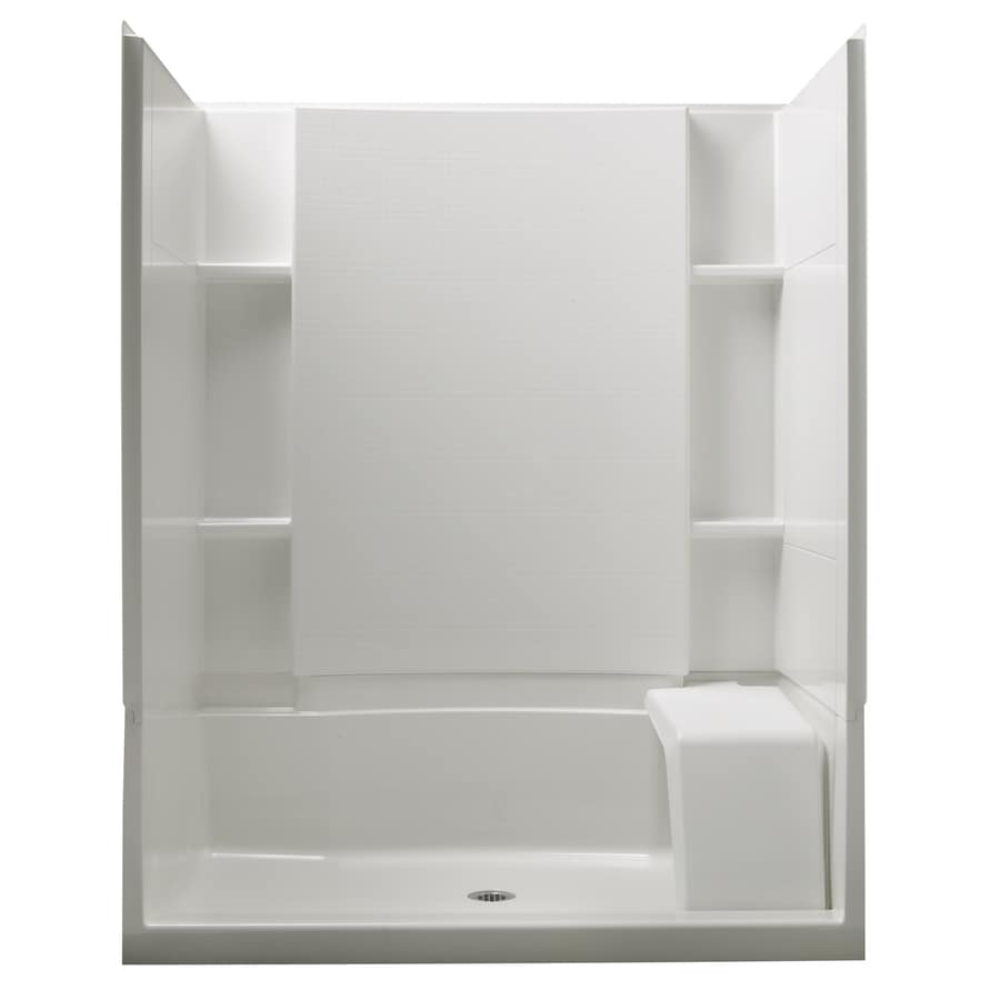 Plastic sheets for bathroom walls - Sterling Accord White Shower Wall Surround Side And Back Panels Common 36 In