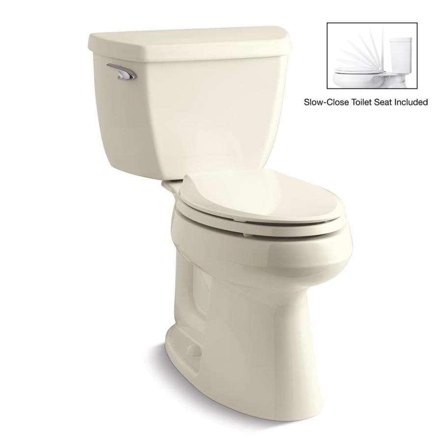 KOHLER Highline Classic 1.28-GPF (4.85-LPF) Biscuit WaterSense Elongated Chair Height 2-Piece Toilet