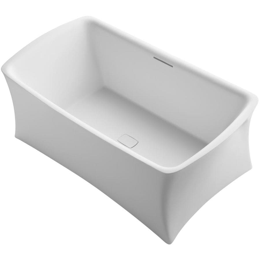 KOHLER Aliento Honed White Solid Surface Rectangular Freestanding Bathtub with Center Drain (Common: 36-in x 66-in; Actual: 25.1875-in x 36-in x 65.8125-in)