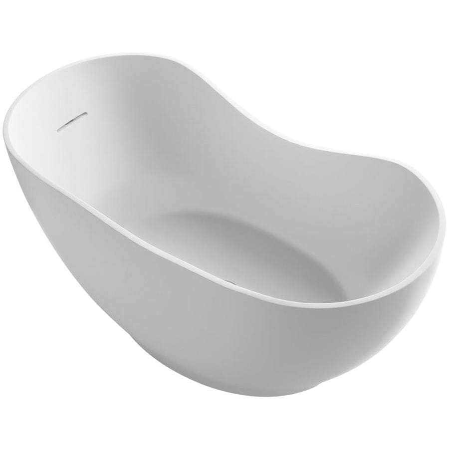 KOHLER Abrazo Honed White Acrylic Oval Freestanding Bathtub with Center Drain (Common: 32-in x 66-in; Actual: 28.5-in x 31.5-in x 66-in)