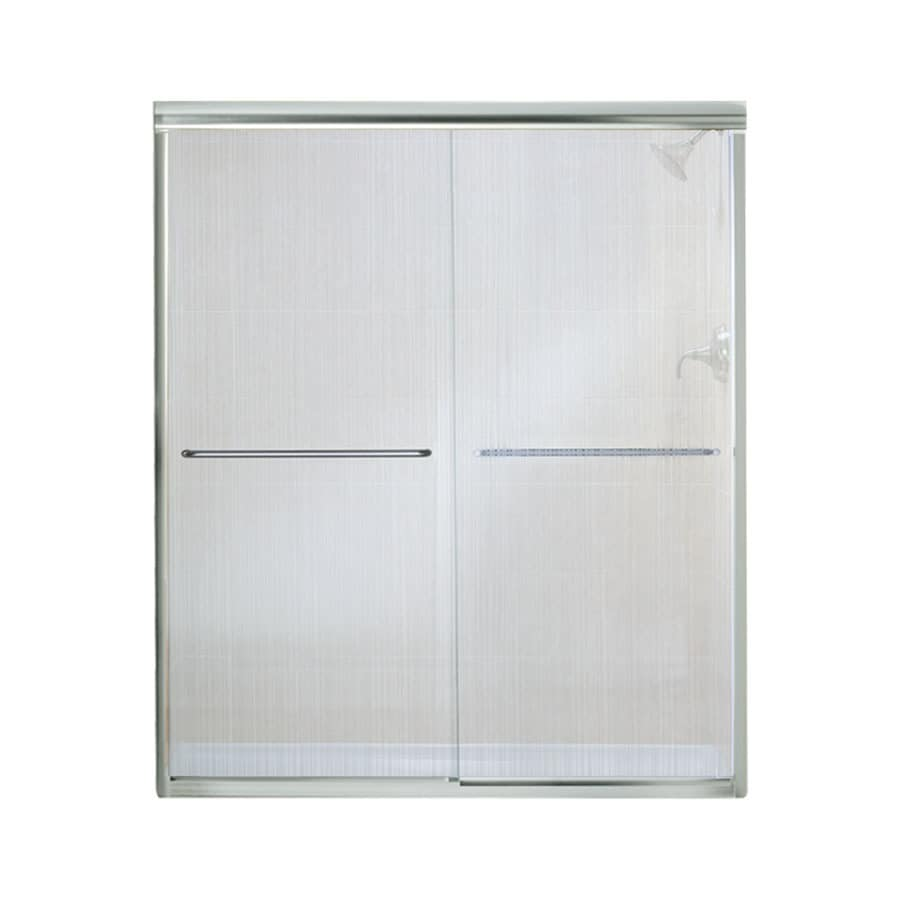 Sterling Finesse 54.625-in to 59.625-in W Frameless Silver Sliding Shower Door