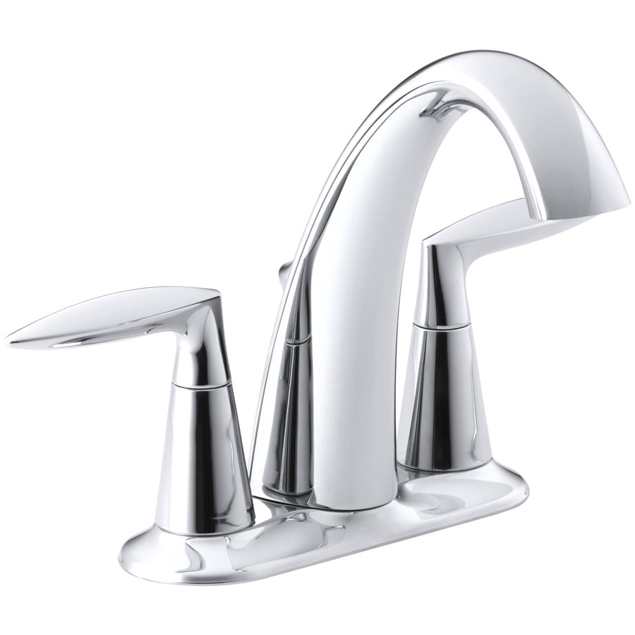 KOHLER Alteo Polished Chrome 2-Handle 4-in Centerset WaterSense Bathroom Faucet (Drain Included)