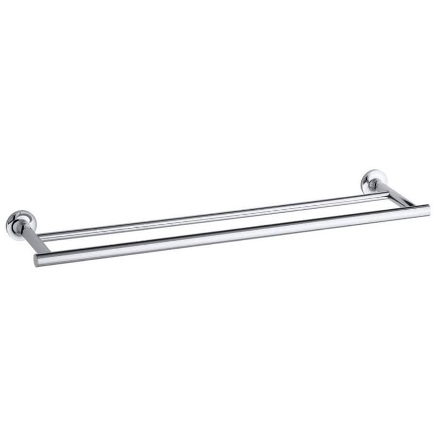KOHLER Purist Polished Chrome Double Towel Bar (Common: 24-in Double; Actual: 24.9375-in)
