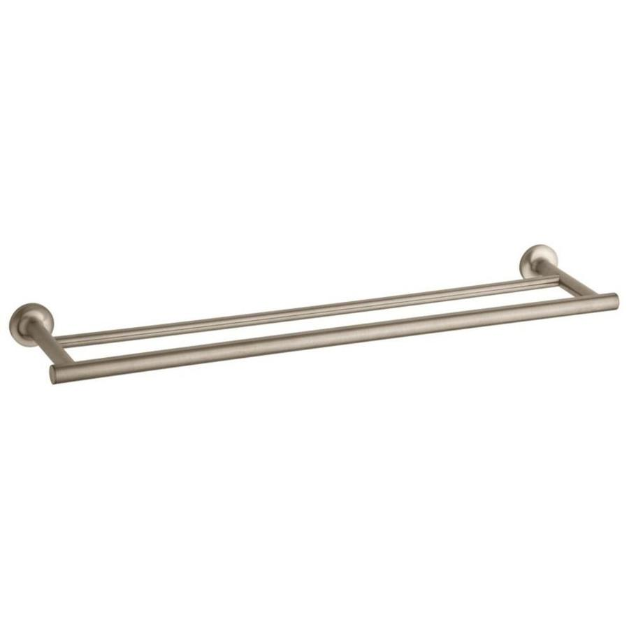 KOHLER Purist Vibrant Brushed Bronze Double Towel Bar (Common: 24-in; Actual: 24.9375-in)