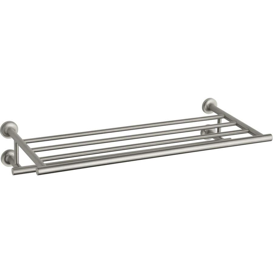 KOHLER Purist 1-Tier Vibrant Brushed Nickel Metal Bathroom Shelf