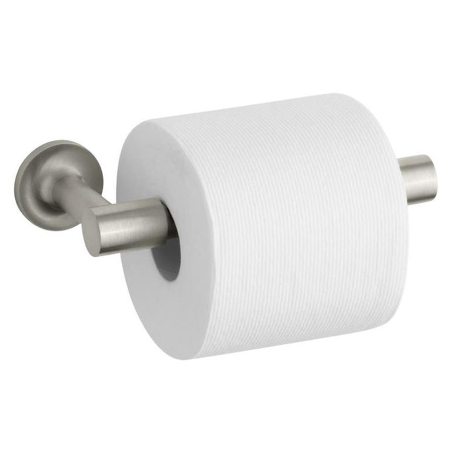 KOHLER Purist Vibrant Brushed Nickel Surface Mount Pivot Toilet Paper Holder