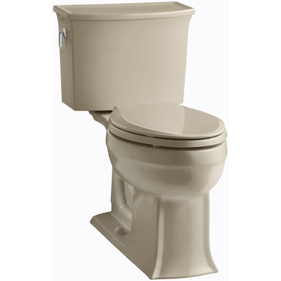 KOHLER Archer 1.28-GPF Mexican Sand WaterSense Elongated Chair Height 2-Piece Toilet