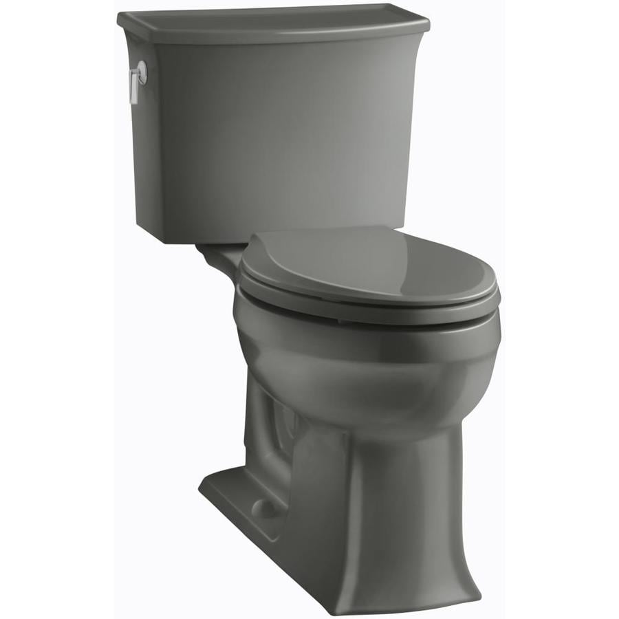 KOHLER Archer Thunder Grey WaterSense Labeled  Elongated Chair Height 2-piece Toilet 12-in Rough-In Size