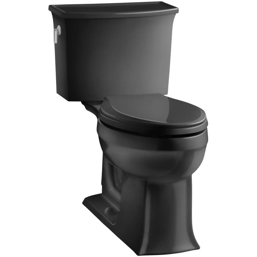 KOHLER Archer Black Black 1.28-GPF (4.85-LPF) 12 Rough-In WaterSense Elongated 2-Piece Chair Height Toilet