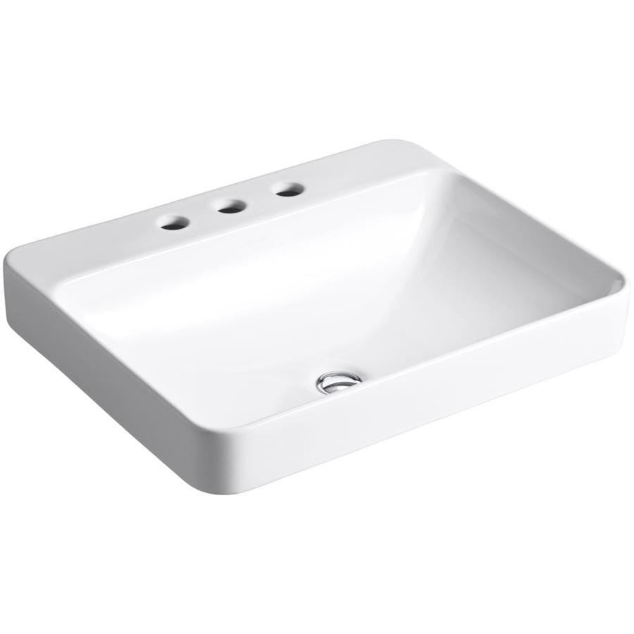KOHLER Vox White Vessel Rectangular Bathroom Sink with Overflow (Drain Included)