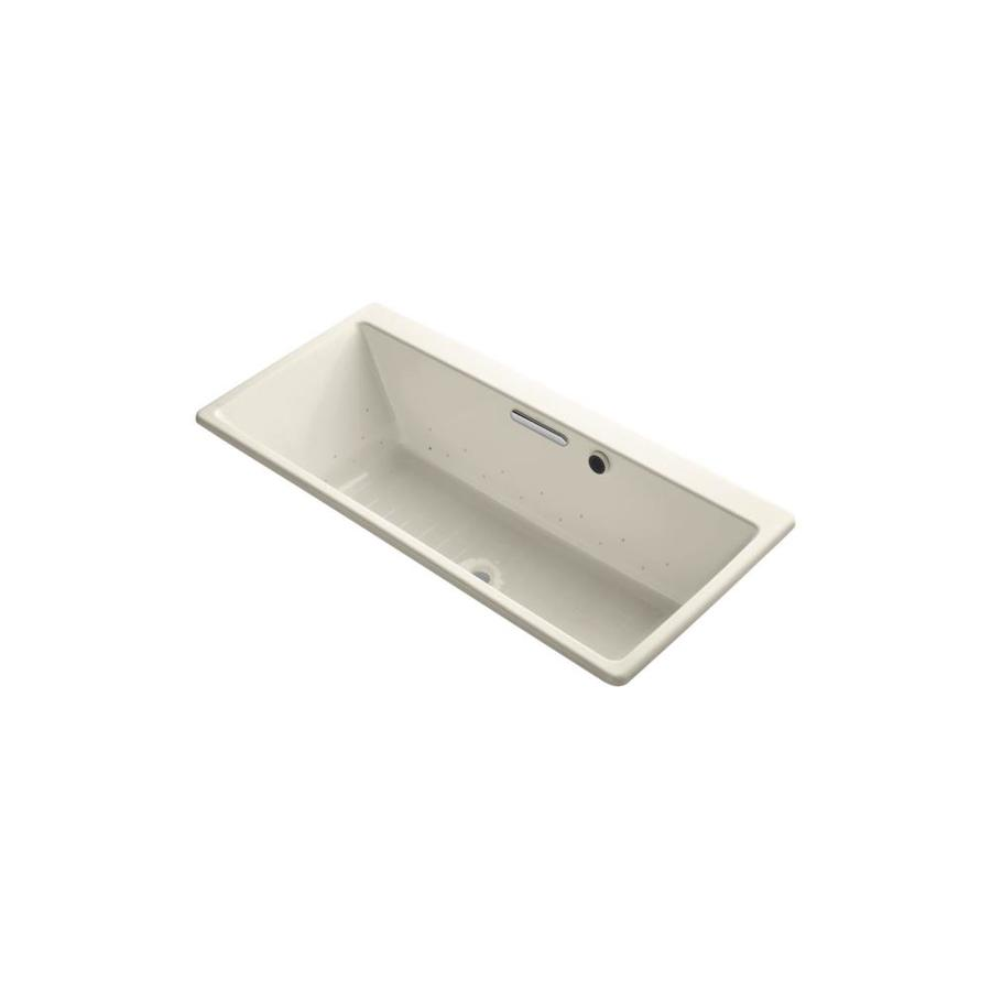 KOHLER Reve 67-in Almond Acrylic Drop-In Air Bath with Front Center Drain
