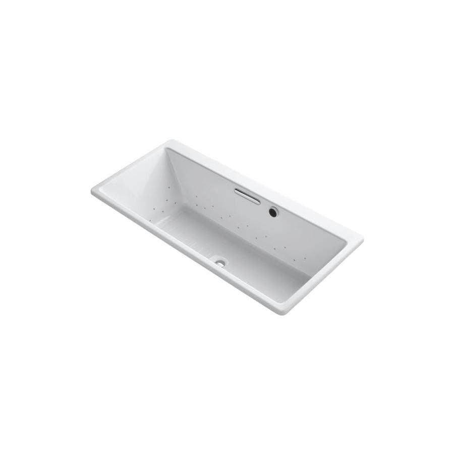 KOHLER Reve 66.9375-in White Acrylic Drop-In Air Bath with Front Center Drain