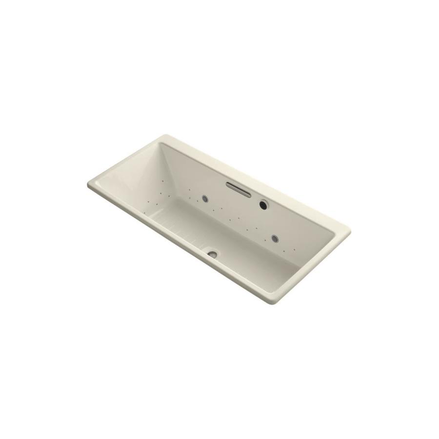 KOHLER Reve 66.9375-in Almond Acrylic Drop-In Air Bath with Front Center Drain