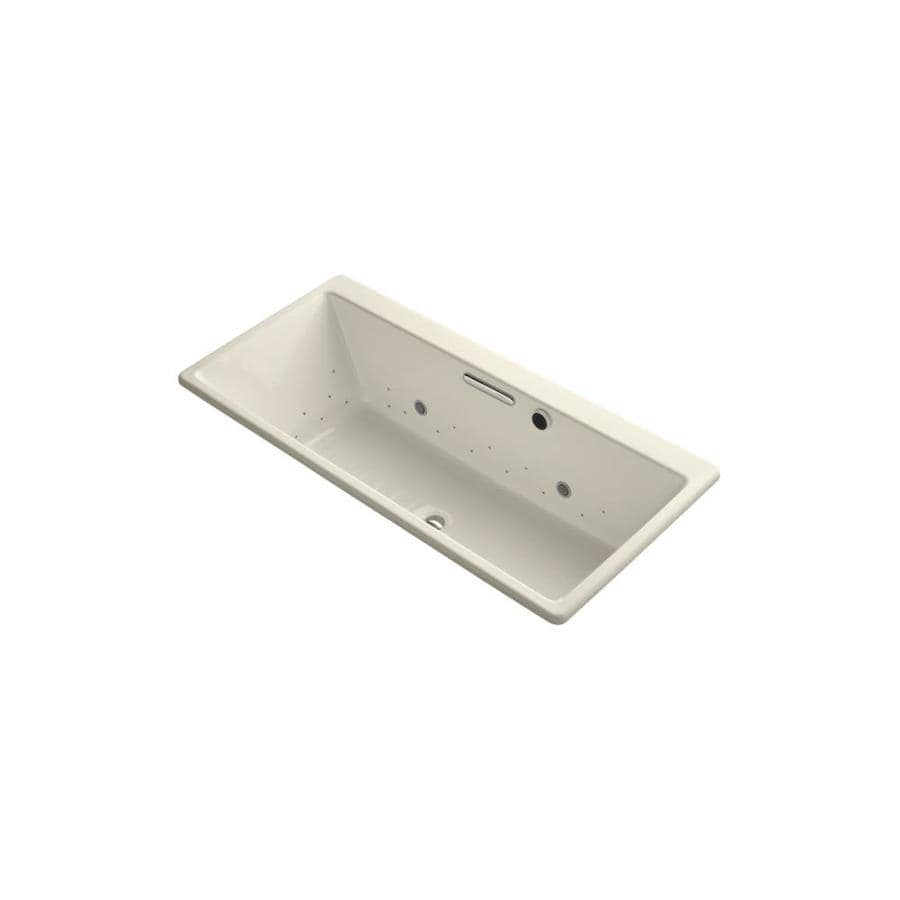 KOHLER Reve 66.9375-in Biscuit Acrylic Drop-In Air Bath with Front Center Drain