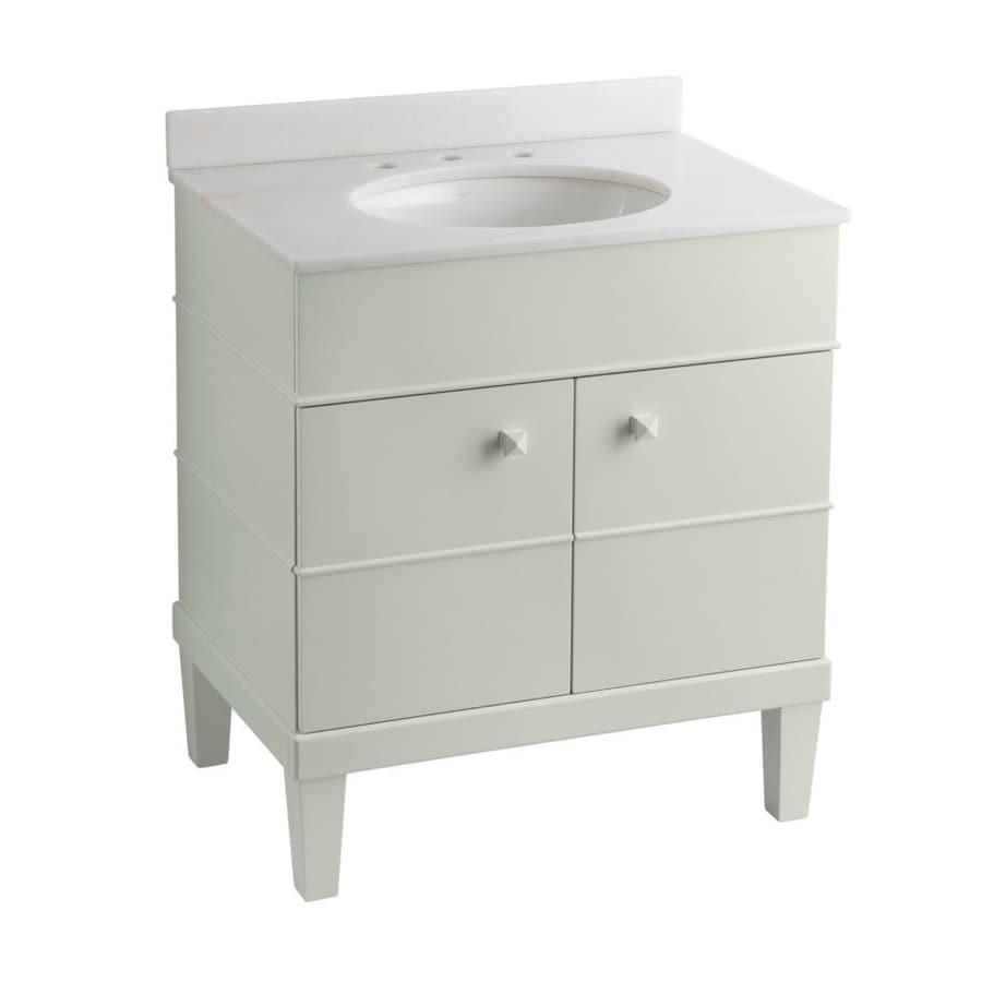 KOHLER Evandale Lily 30-in Undermount Single Sink Bathroom Vanity with Solid Surface Top