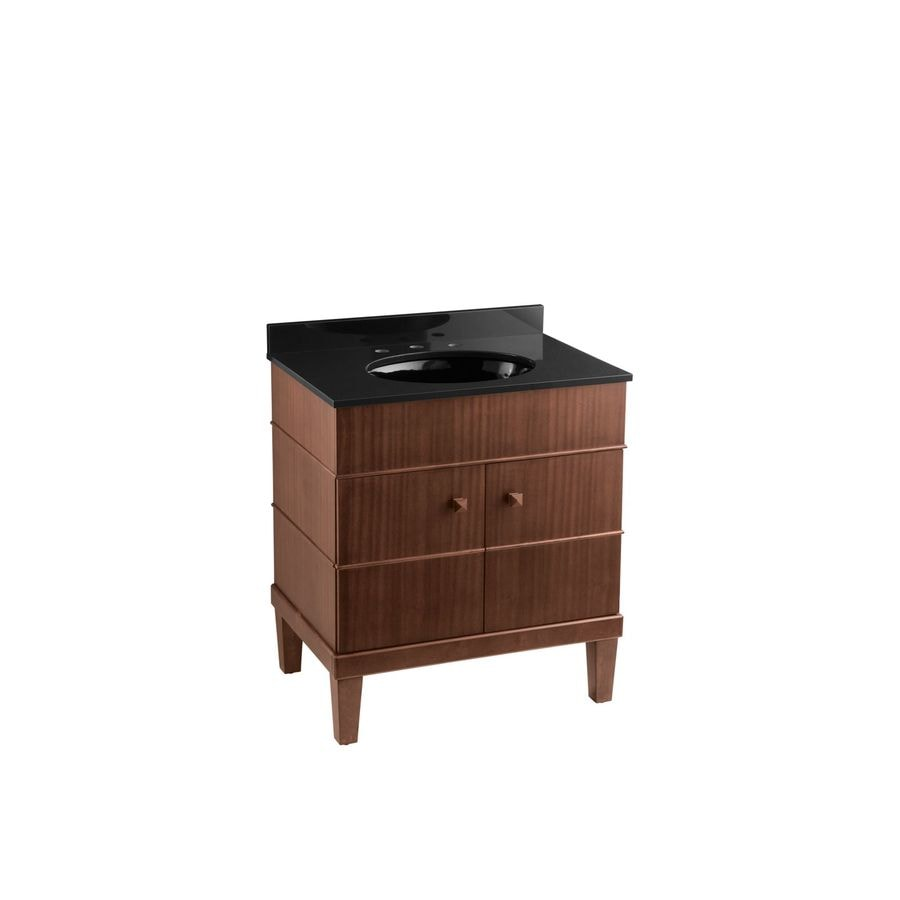 KOHLER Evandale Sapele Undermount Single Sink Bathroom Vanity with Solid Surface Top (Common: 30-in x 21-in; Actual: 30-in x 21-in)