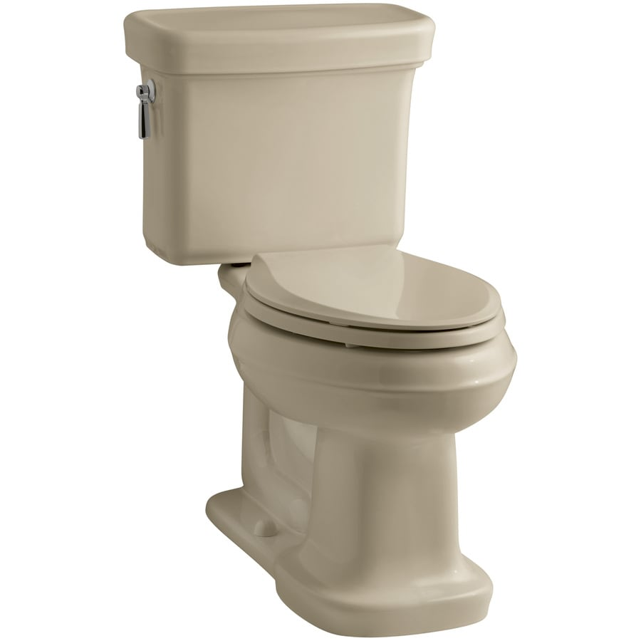 KOHLER Bancroft 1.28-GPF Mexican Sand WaterSense Elongated Chair Height 2-Piece Toilet