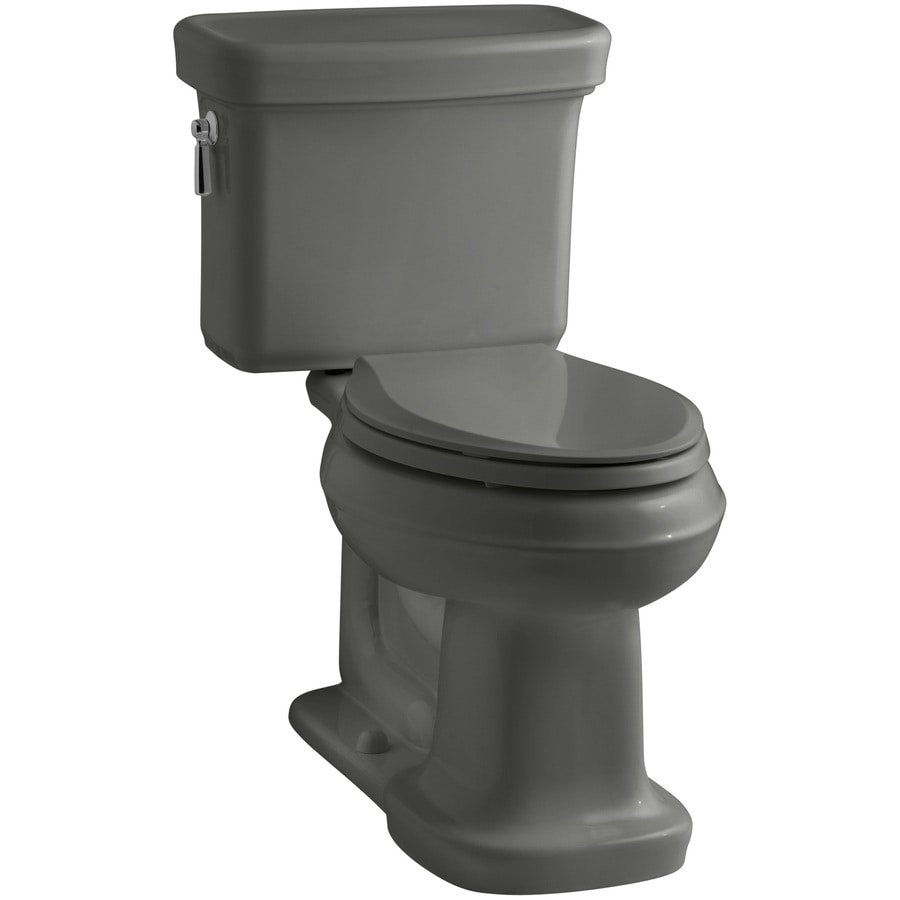 KOHLER Bancroft 1.28-GPF Thunder Grey WaterSense Elongated Chair Height 2-Piece Toilet