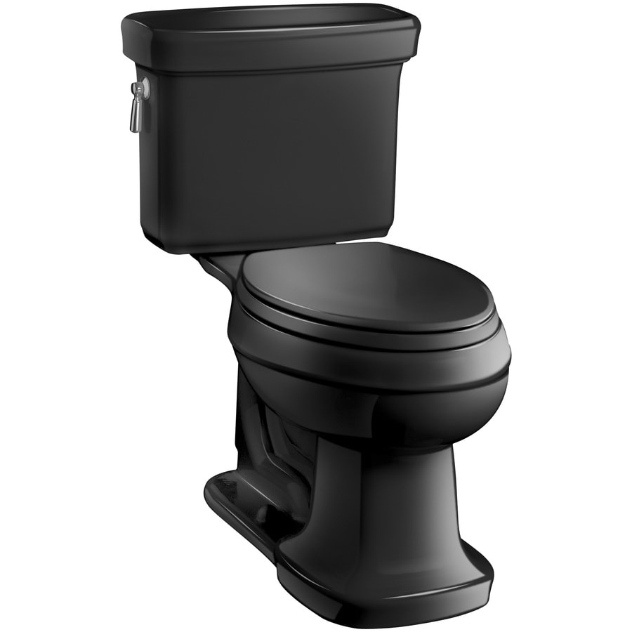 KOHLER Bancroft Black Black 1.28-GPF (4.85-LPF) 12 Rough-In WaterSense Elongated 2-Piece Chair Height Toilet