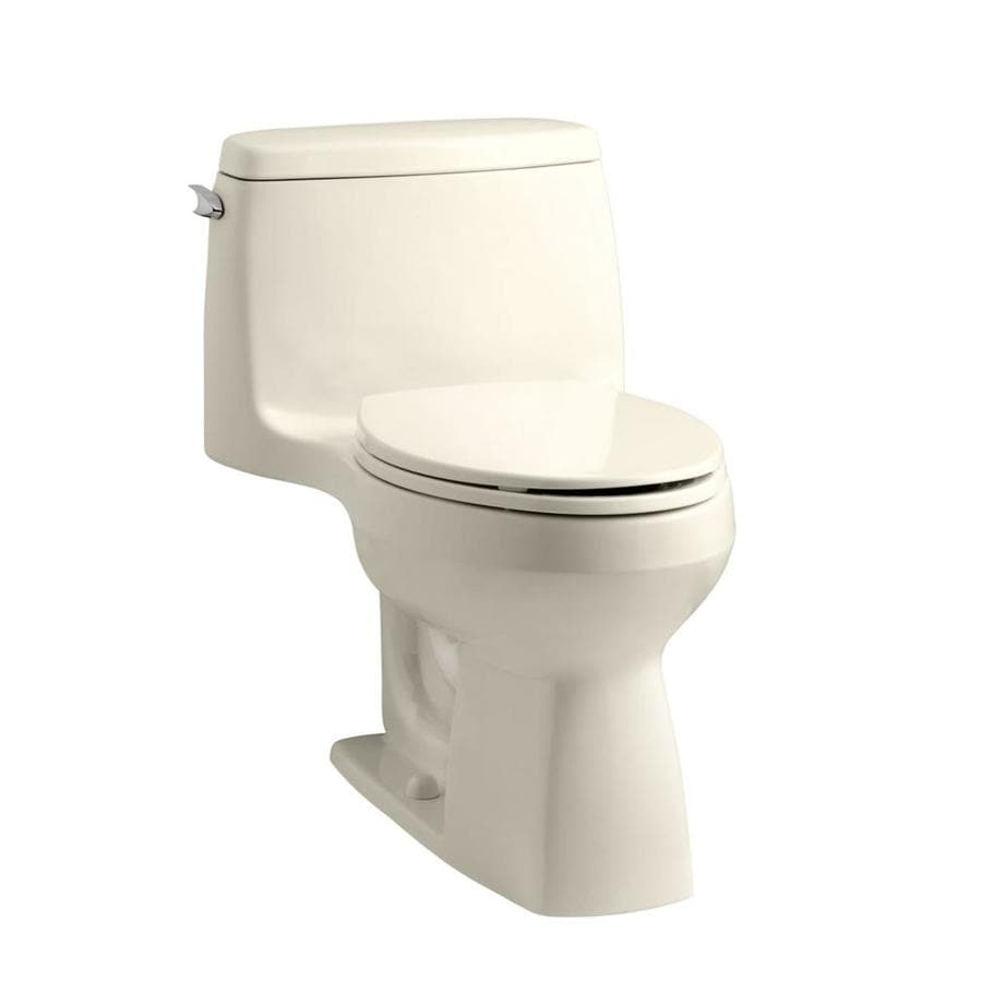 KOHLER Santa rosa 1.28-GPF (4.85-LPF) Almond Compact Elongated Chair Height 1-piece Toilet