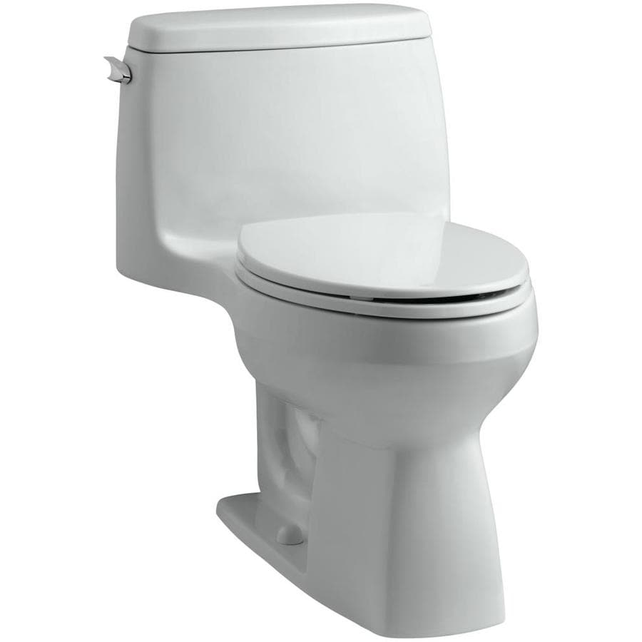 KOHLER Santa Rosa 1.28 Ice Grey WaterSense Compact Elongated Chair Height 1-Piece Toilet