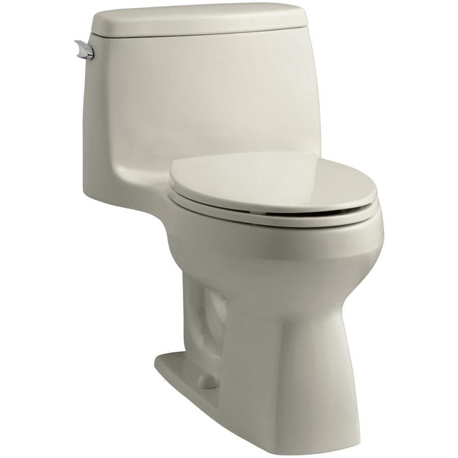 KOHLER Santa Rosa 1.28 Sandbar WaterSense Compact Elongated Chair Height 1-Piece Toilet