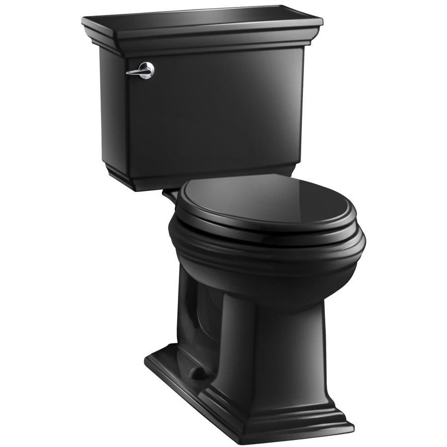 KOHLER Memoirs Black Black 1.28-GPF (4.85-LPF) 12-in Rough-In WaterSense Elongated 2-Piece Comfort Height Toilet