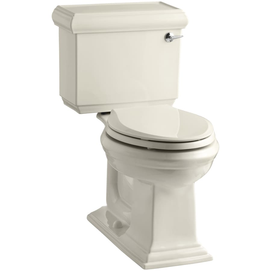 KOHLER Memoirs Almond 1.28-GPF (4.85-LPF) 12 Rough-In WaterSense Elongated 2-Piece Chair Height Toilet