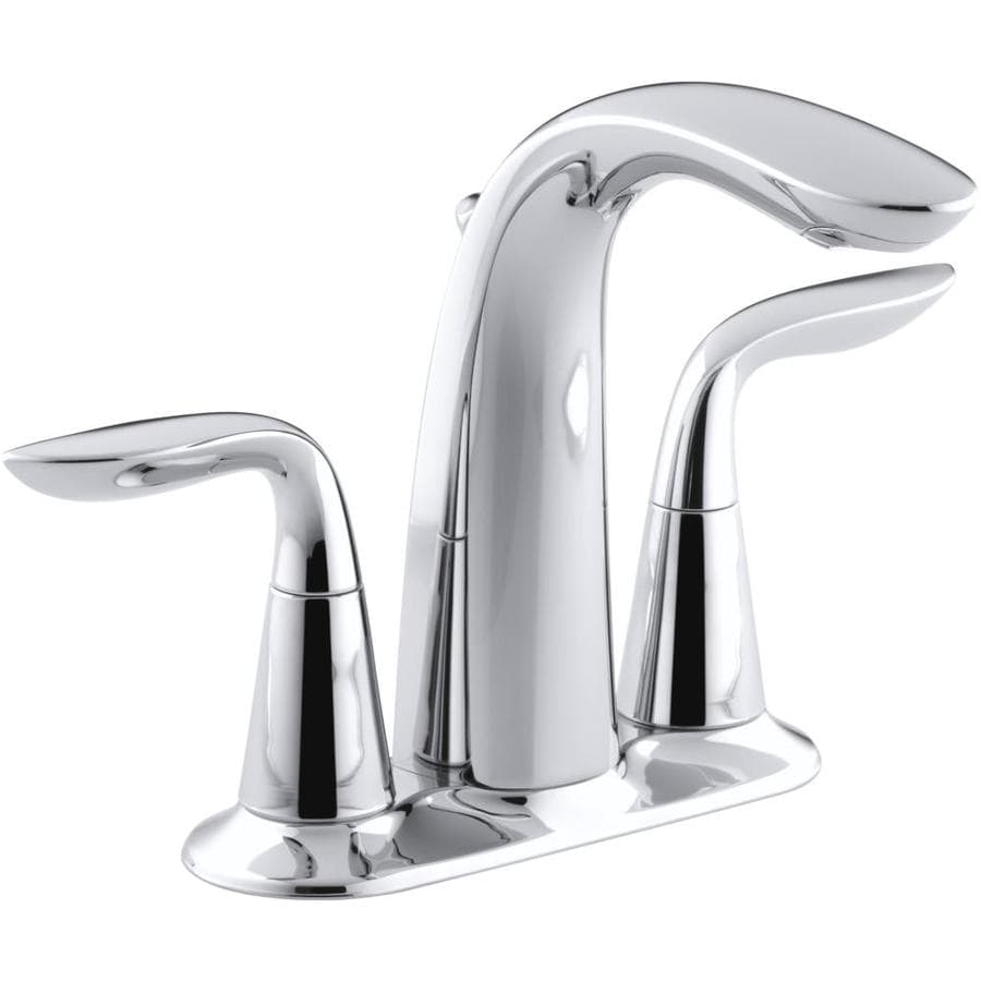 KOHLER Refinia Polished Chrome 2-Handle 4-in Centerset WaterSense Bathroom Faucet (Drain Included)