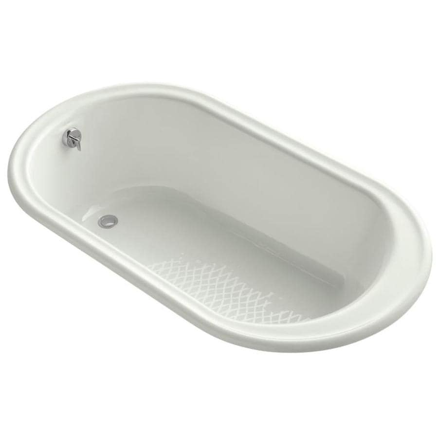 shop kohler iron works 66 in dune cast iron oval drop in bathtub with