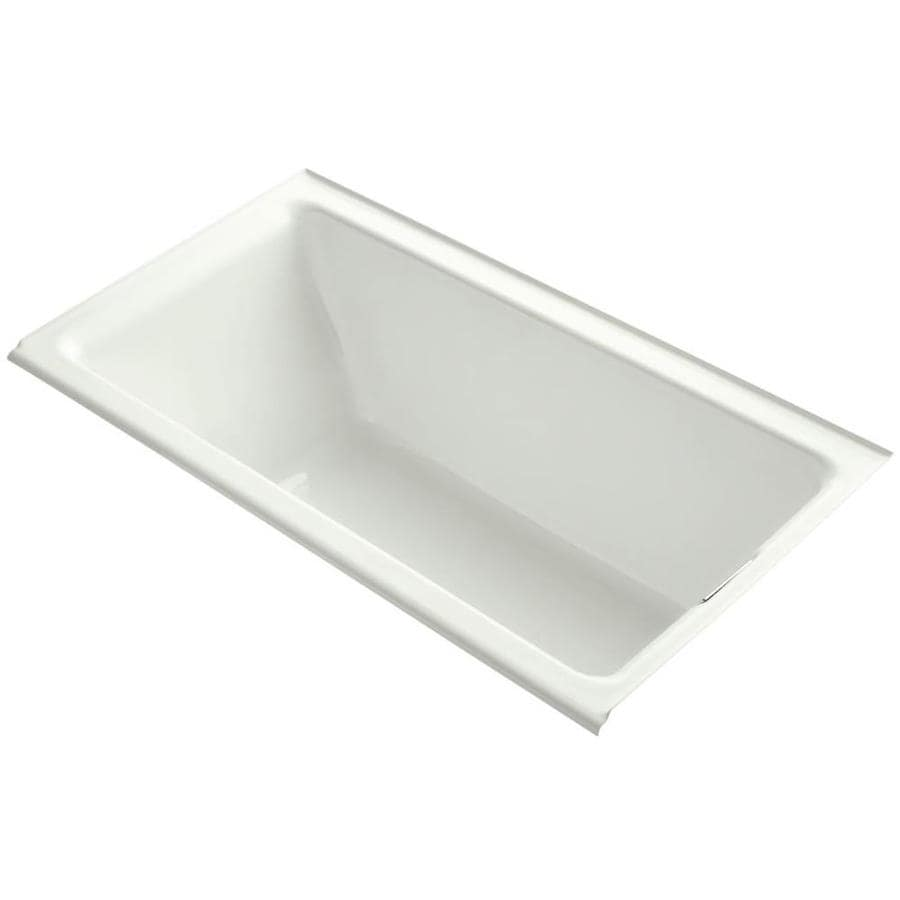 shop kohler tea for two dune cast iron rectangular alcove bathtub with