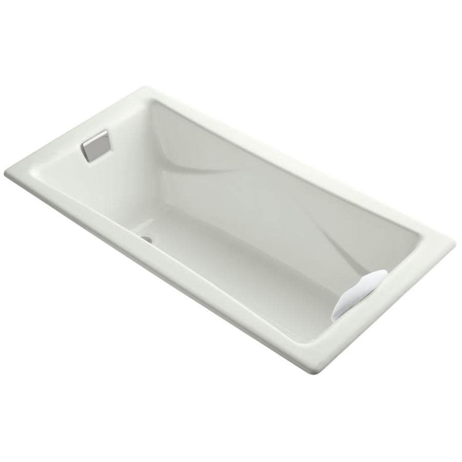 KOHLER Tea-For-Two 71.75-in Dune Cast Iron Drop-In Bathtub with Reversible Drain