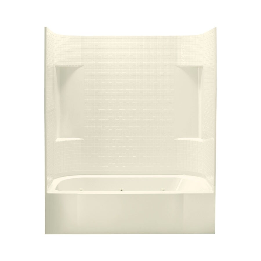 Sterling Accord 60-in Biscuit Vikrell Alcove Whirlpool Tub with Left-Hand Drain